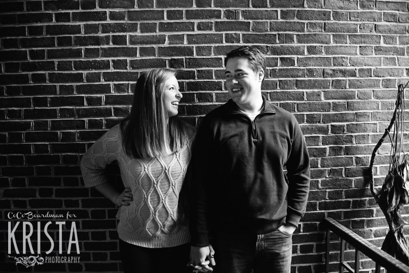 Laughing and smiling couple at St. Anselm College - Saint Anselm Engagement