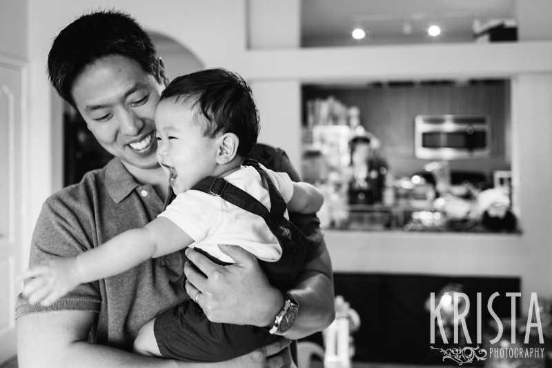 Father & Son playing, laughing. One Year Portraits, First Birthday. Boston Family Photographer, Krista Guenin. © Krista Photography - www.kristaphoto.com