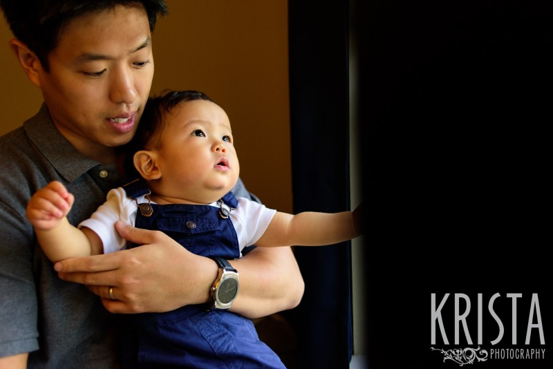 Father & Son at window. One Year Portraits, First Birthday. Boston Family Photographer, Krista Guenin. © Krista Photography - www.kristaphoto.com