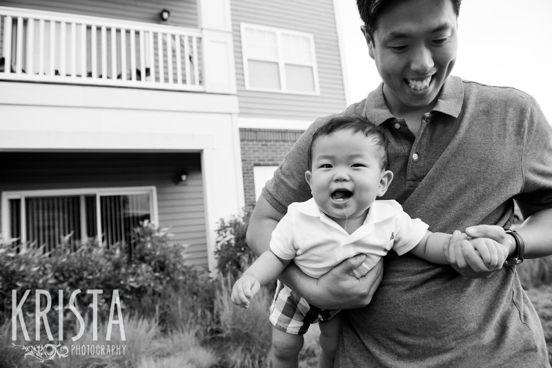 Father & Son playing. One Year Portraits, First Birthday. Boston Family Photographer, Krista Guenin. © Krista Photography - www.kristaphoto.com