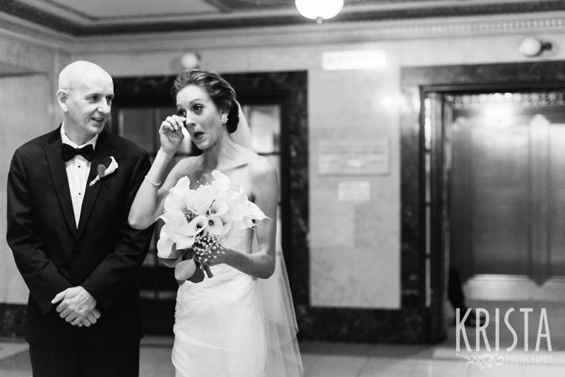 Tears before she walks down the aisle. Wang Theater Wedding © Krista Photography, Boston Wedding Photographer - www.kristaphoto.com
