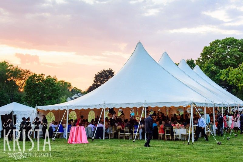 Guests Enjoying The Wedding Reception Under Tent At Sunset Krista Photography Www
